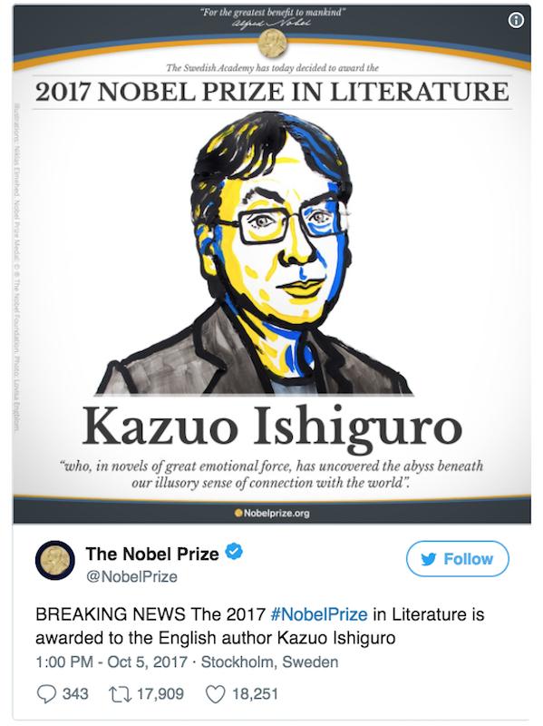 2017年ノーベル文学賞受賞の日系...